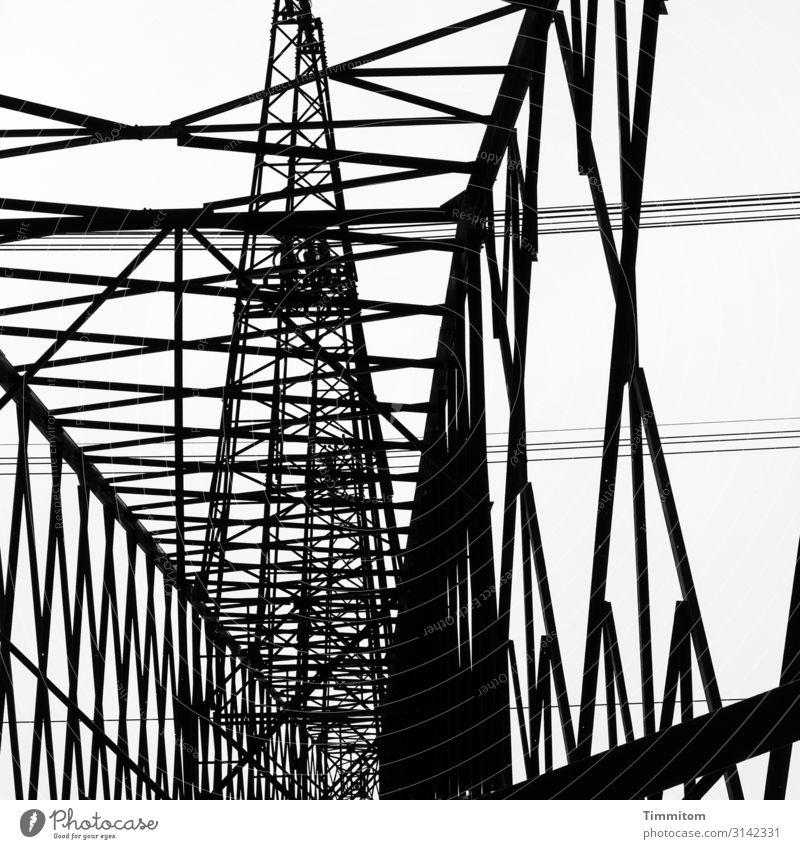 Metal skywards Energy industry Technology Line Esthetic Cold Black White Electricity pylon High voltage power line Construction Power transmission