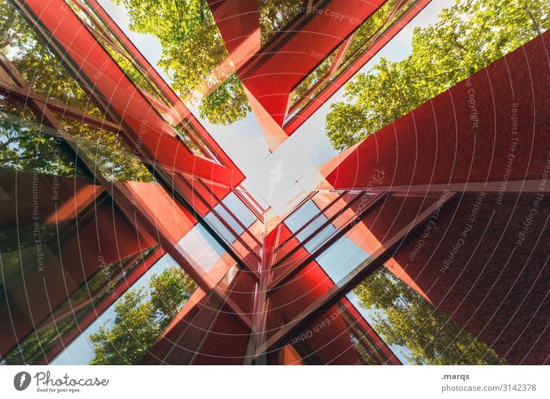 Red building abstract Style Design Manmade structures Architecture Hip & trendy Colour Advancement Future Line Abstract Deserted Worm's-eye view Facade