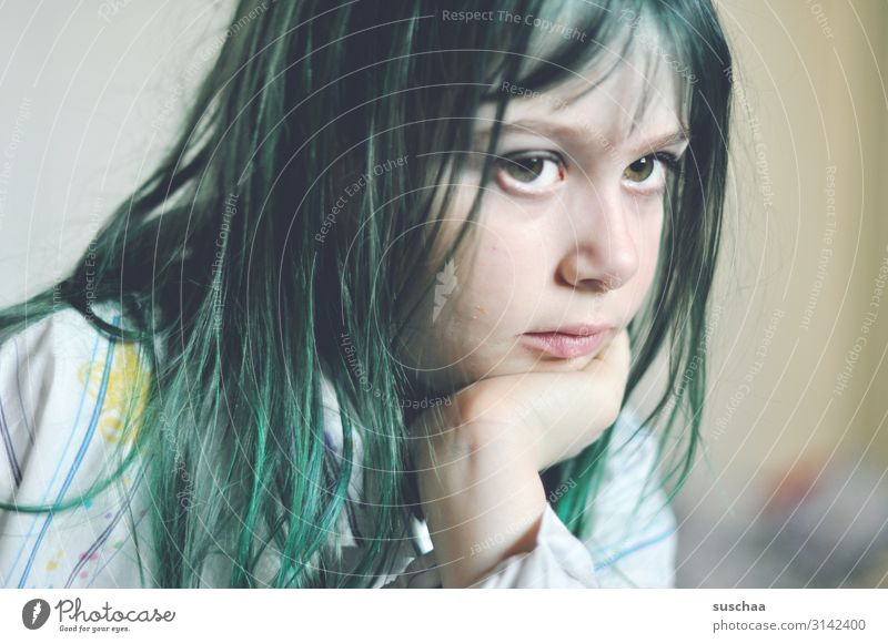thoughtful with green hair Child Girl Head Face Portrait photograph Half-profile Eyes youthful Infancy Think Meditative sunny Go under Thought Boredom Adults