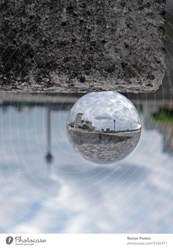 Düsseldorf Inception Sky Clouds Duesseldorf Germany Downtown Horizon glassball Mirror image Colour photo Exterior shot Copy Space top Copy Space bottom Day
