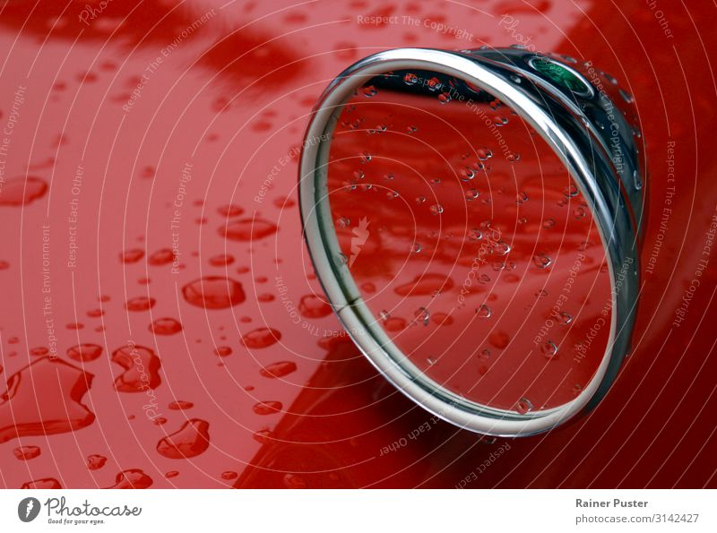 Classic Cards and Rain Drops of water Bad weather Vintage car Red Emotions Serene Patient Climate Environment Rear view mirror Colour photo Exterior shot