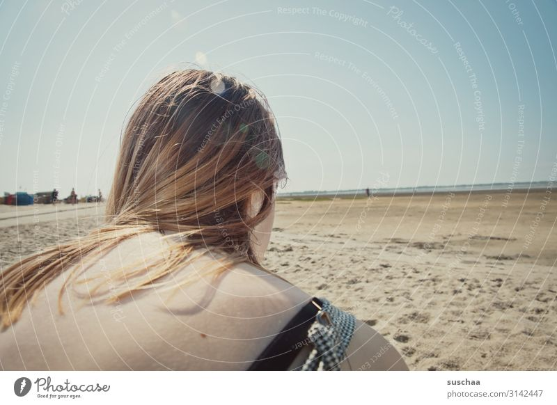 view over the shoulder of a young girl into the vastness of the north sea coast at low tide hair Shoulder Back Youth (Young adults) Head Beach Ocean Coast Sand