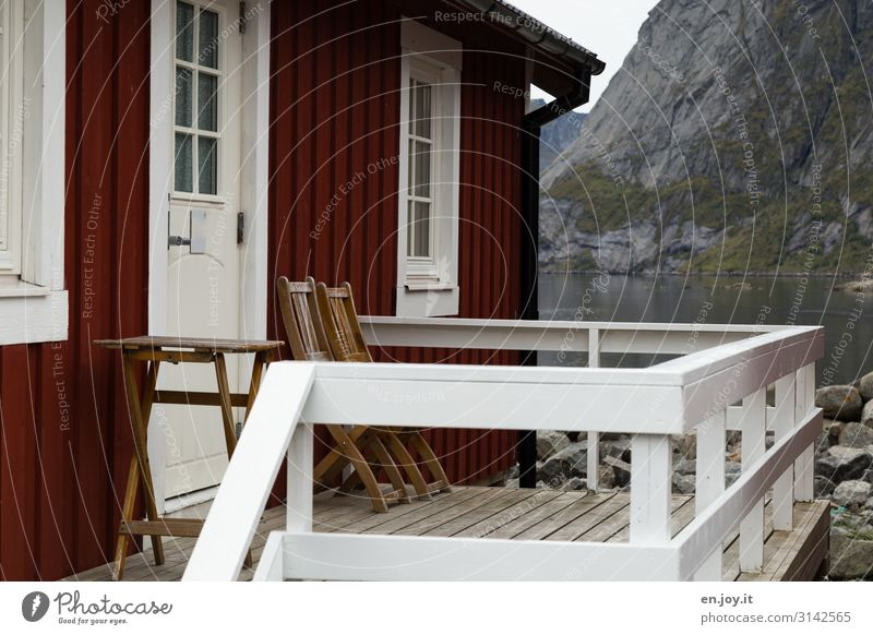 Our Nest Vacation & Travel Rock Mountain Fjord Reine Lofotes Norway Scandinavia House (Residential Structure) Detached house Dream house Hut Facade Balcony