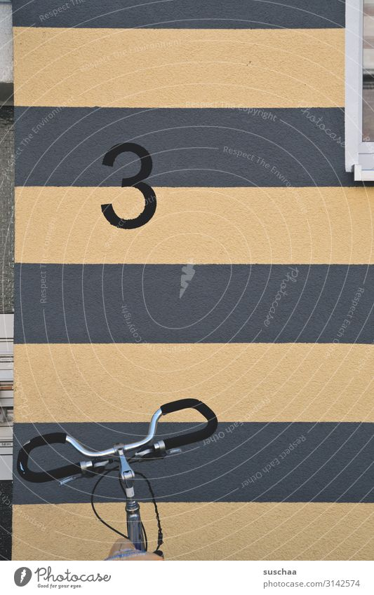 3 with handlebars Digits and numbers Quantity House number address Wall (building) House (Residential Structure) Apartment Building