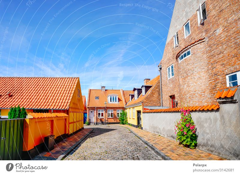 Colorful danish street in the summer Sky Vacation & Travel Old Blue Town Landscape House (Residential Structure) Street Architecture Style Building Tourism
