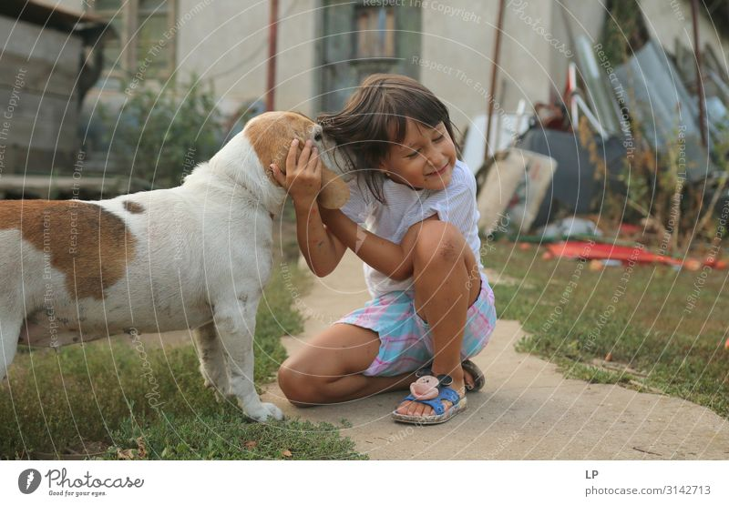dog sniffing a happy child Parenting Education Kindergarten Child Agriculture Forestry Telecommunications Nature Garden Animal Pet Farm animal Dog Emotions
