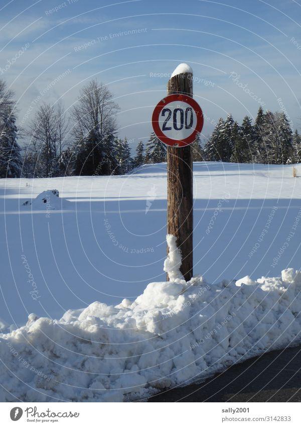 Speed limit in winter... 200 Fraud Winter top speed Snow Street Road sign Exterior shot Transport Traffic infrastructure Motoring Road traffic Sign
