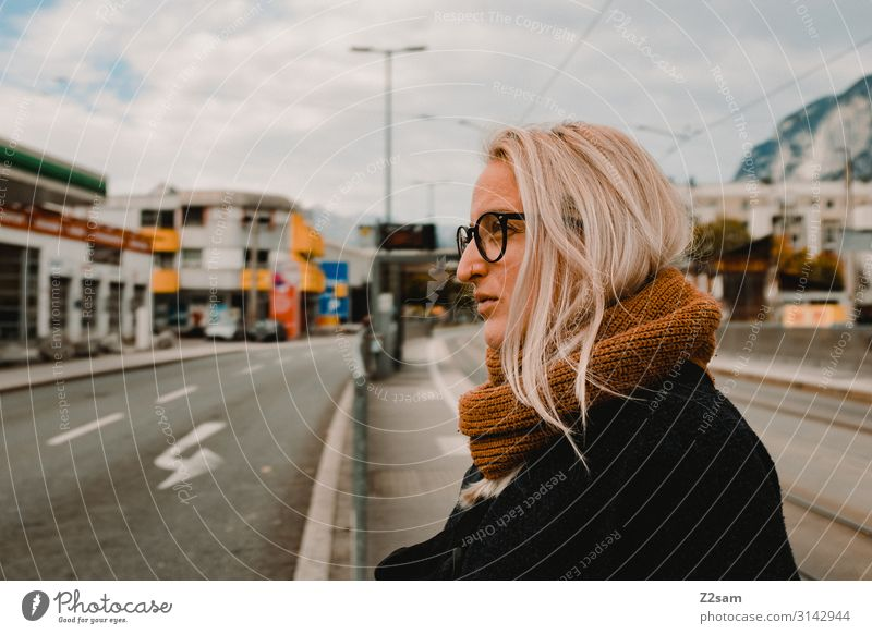 Youth (Young adults) Young woman Town Beautiful 18 - 30 years Street Lifestyle Adults Natural Lanes & trails Brown Transport Elegant Blonde Stand Wait