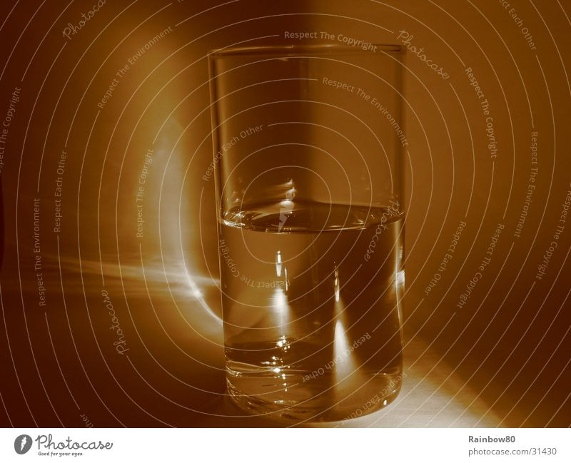 Water glass 1 Tumbler Reflection Living or residing Glass Sepia Light (Natural Phenomenon)