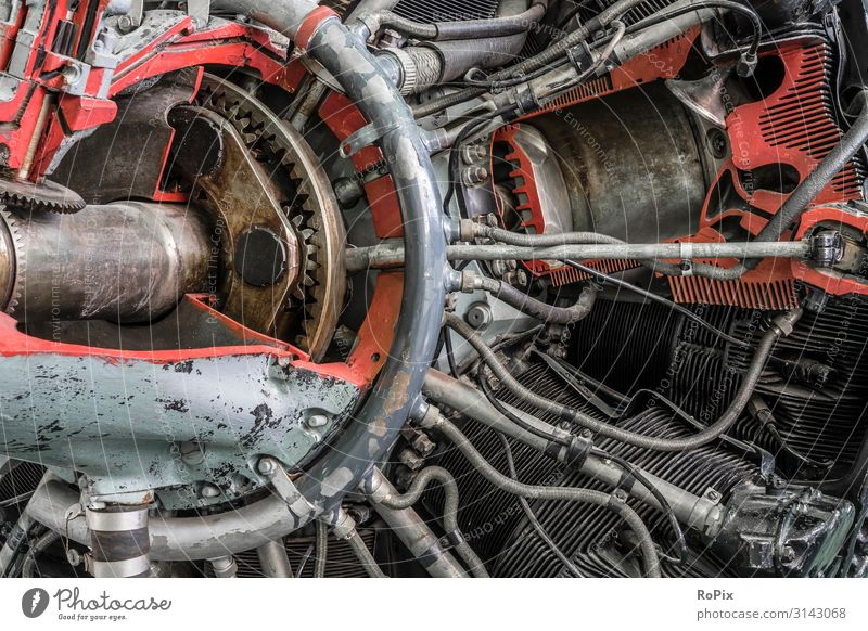 Section model of a historic aircraft engine. Old Lifestyle Business Work and employment Design Leisure and hobbies Metal Transport Technology Aviation Industry