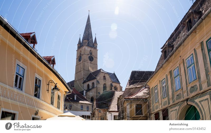 Sibiu Sky Sun Sunlight Summer Romania Town Downtown House (Residential Structure) Church Tower Manmade structures Building Facade Window Door Roof