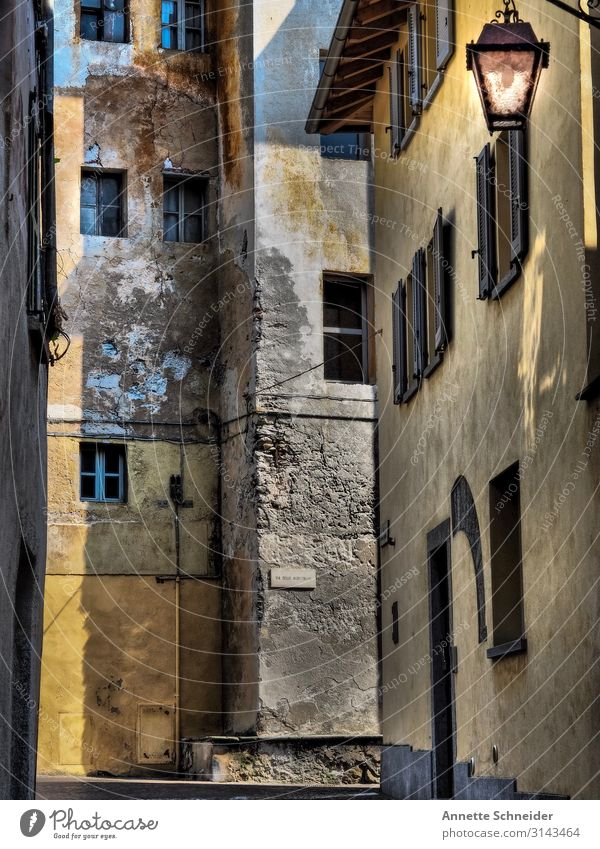 Chiavenna Italy Europe Small Town Old town Deserted Manmade structures Building Facade Window Door Stone Adventure Eternity Vacation & Travel Culture Tourism