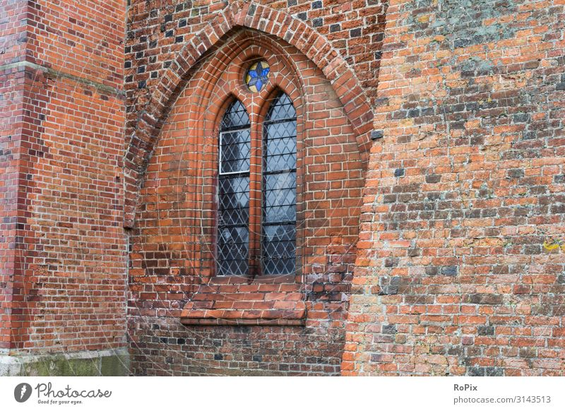 Window of a historical church. Dome Ratzeburg Cemetery Brick Brick Gothic monasteries Architecture Culture Church Monastery chruch built Belief sacral