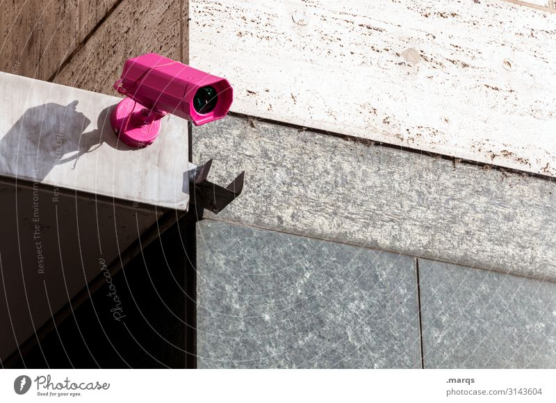 cam Video camera Surveillance camera Technology Wall (barrier) Wall (building) Observe Pink Testing & Control Politics and state Safety Spy Colour photo