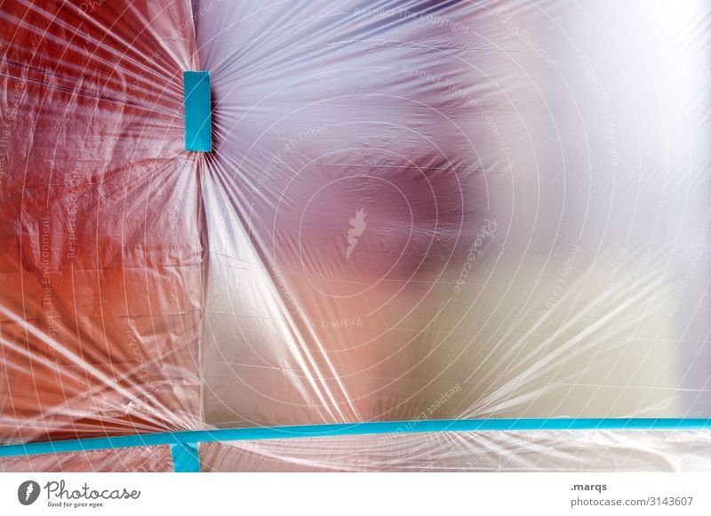 film Construction site Adhesive tape Packing film Covers (Construction) Transparent Red Turquoise Hazy tight Folds Colour photo Exterior shot Close-up Deserted