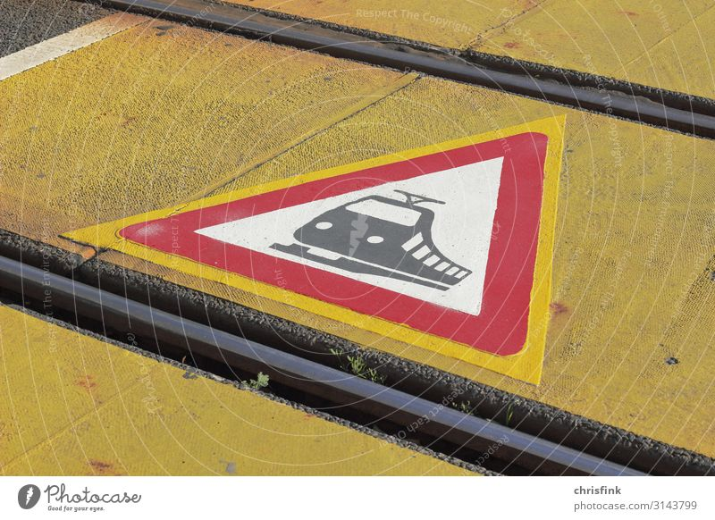 Warning sign Rail traffic on ground Economy Technology Transport Means of transport Traffic infrastructure Road traffic Train travel Pedestrian Lanes & trails