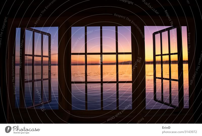 Sunrise over Ocean Through Black Window Panes Beautiful Relaxation Vacation & Travel Wallpaper Environment Nature Landscape Horizon Fresh Uniqueness New Pink