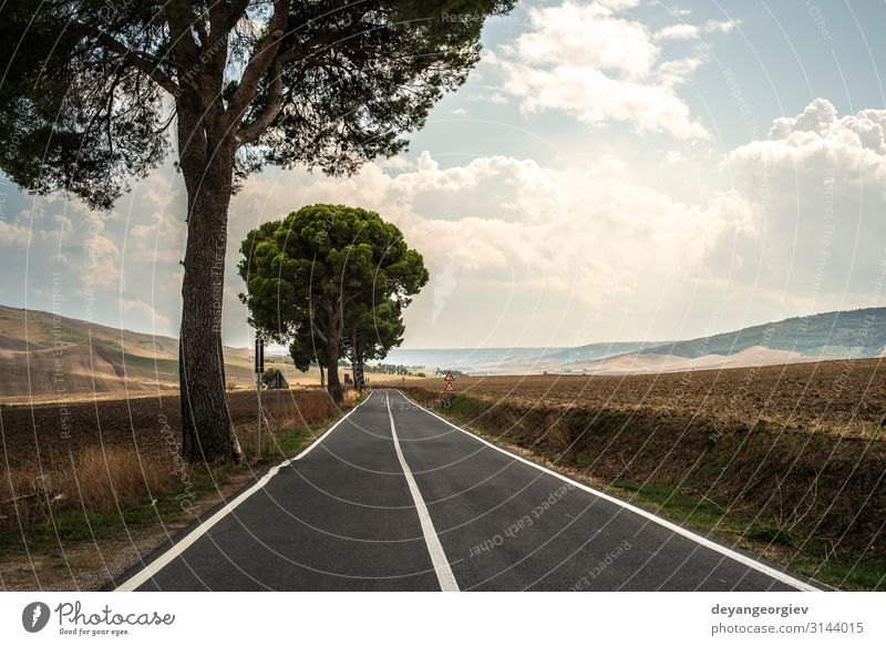 Old asphalt road with white line. Vacation & Travel Trip Summer Mountain Nature Landscape Sky Horizon Transport Street Highway Line Blue Colour Perspective