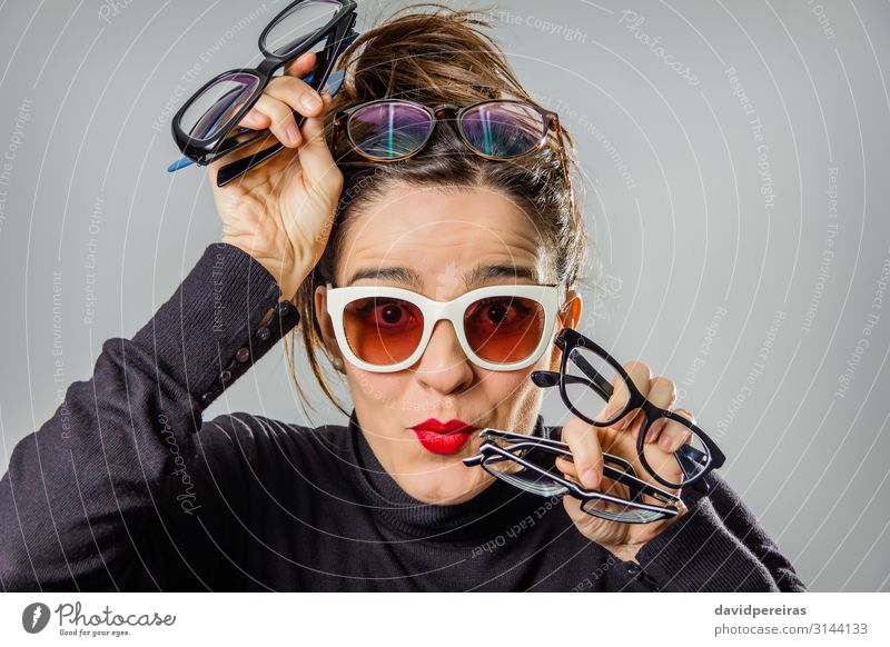 Real girl with various glasses and red lips gesturing Woman Human being Beautiful White Red Eroticism Joy Black Face Adults Natural Funny Happy Fashion