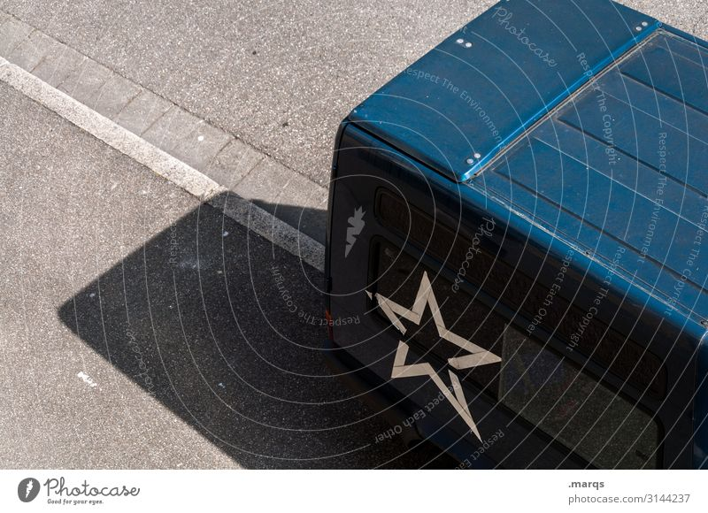 transporter Street Bird's-eye view daylight Mobility Transporter logistics Black Star (Symbol) Shadow Parking