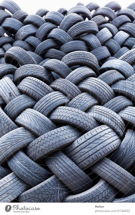 Stacks of old worn car tires Environment Transport Road traffic Motoring Car Lie Old Dirty Black Environmental pollution Environmental protection Decline Luxury