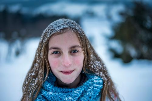 Girl with snowy hair Joy luck Contentment Leisure and hobbies Vacation & Travel Winter Snow Child girl Landscape Weather Snowfall peel Happiness chill Emotions