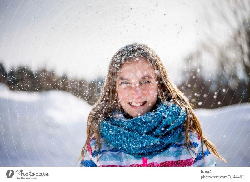 happy girl in the snow Joy Happy Contentment Leisure and hobbies Vacation & Travel Winter Snow Child Girl Landscape Weather Snowfall Scarf Laughter Happiness