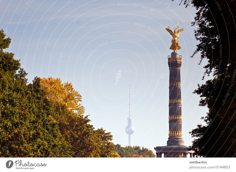 TV Tower and Victory Column Architecture Berlin Monument Germany else Figure Gold Goldelse victory statue big star Capital city Sky Heaven Downtown Places