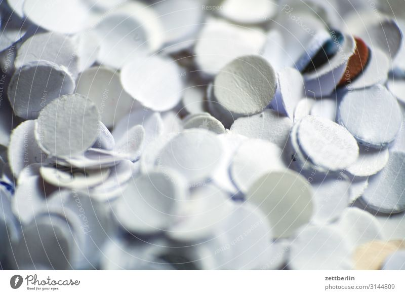 confetti Trash Abstract Office Carnival Background picture Confetti Hole puncher Paper paper shavings Snippets Structures and shapes Depth of field White Moody