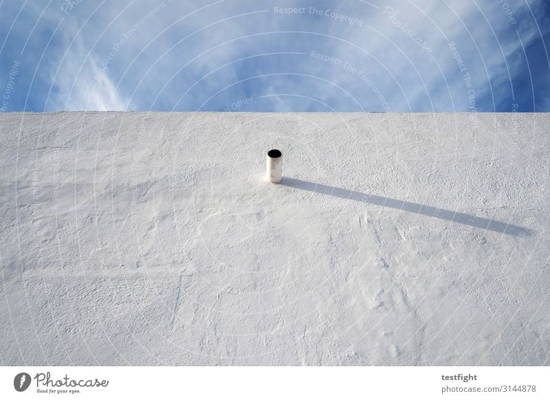 some kinda thing Sky Clouds Sun Wall (barrier) Wall (building) Facade Blue White Pipe Drainpipe Colour photo Exterior shot Copy Space top Copy Space bottom
