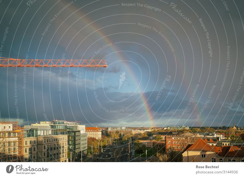 Rainbow with crane Storm clouds Autumn Bad weather Town Skyline House (Residential Structure) Build Blue Orange Living or residing Leipzig Crane