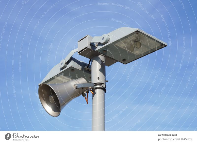 Lantern with loudspeaker Lamp post Safety Surveillance Street lighting Floodlight Megaphone Sky Loudspeaker Siren Colour photo Exterior shot Detail Deserted