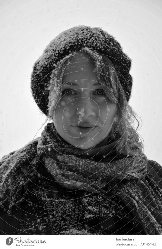 Snowwoman Woman Adults 1 Human being Winter Snowfall Scarf Cap Smiling Stand Happiness Cold Wet Emotions Moody Joy Climate Nature Environment