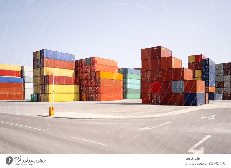 container terminal Traffic infrastructure Street Logistics Goods Container world trade Node Storage Deliver Economy Industry Colour photo Exterior shot