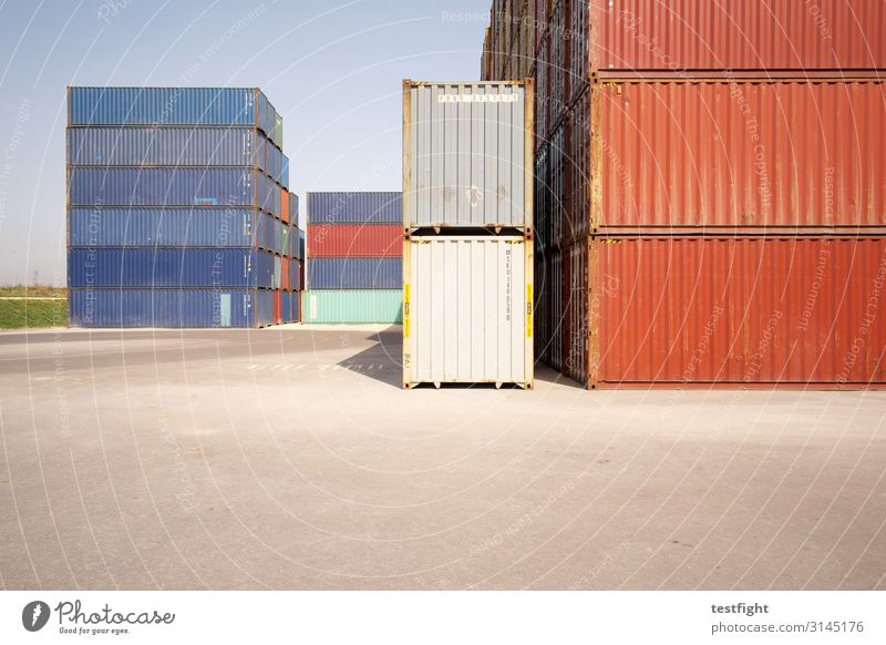 container terminal Industry Trade Logistics Sharp-edged Container pile Colour photo Exterior shot Deserted Copy Space bottom Light Shadow Sunlight