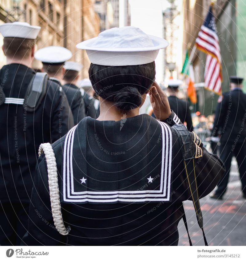 Parade march! Soldier Sailor Seaman Event Shows New York City USA American Flag Downtown Fashion Uniform Sailors hat Hat Cap Salutation Stand Bravery Dedication