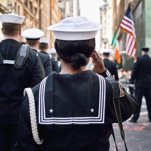 Parade march! Soldier Sailor Seaman Event Shows New York City USA American Flag Downtown Fashion Uniform Sailors hat Hat Cap Salutation Stand Bravery Dedication