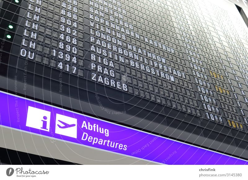 Airport Departure Scoreboard Vacation & Travel Tourism Logistics Transport Means of transport Aviation Airplane Passenger plane Runway Airplane landing