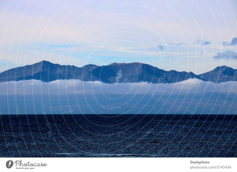 Scottish Island with Dense Low Cloud in Autumn Tourism Ocean Waves Mountain Sailing Nature Landscape Water Sky Clouds Fog Hill Peak Coast Navigation Natural