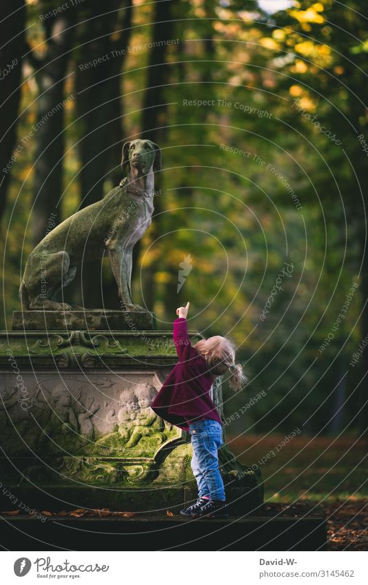 bow-wow Trip Human being Feminine Child Toddler Girl Infancy Life Hand Fingers 1 1 - 3 years Art Environment Nature Autumn Climate Beautiful weather Forest