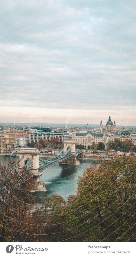 View of Szechenyi Bridge and St. Stephen Cathedral in Budapest Lifestyle Vacation & Travel Tourism Trip Adventure Sightseeing City trip Architecture River