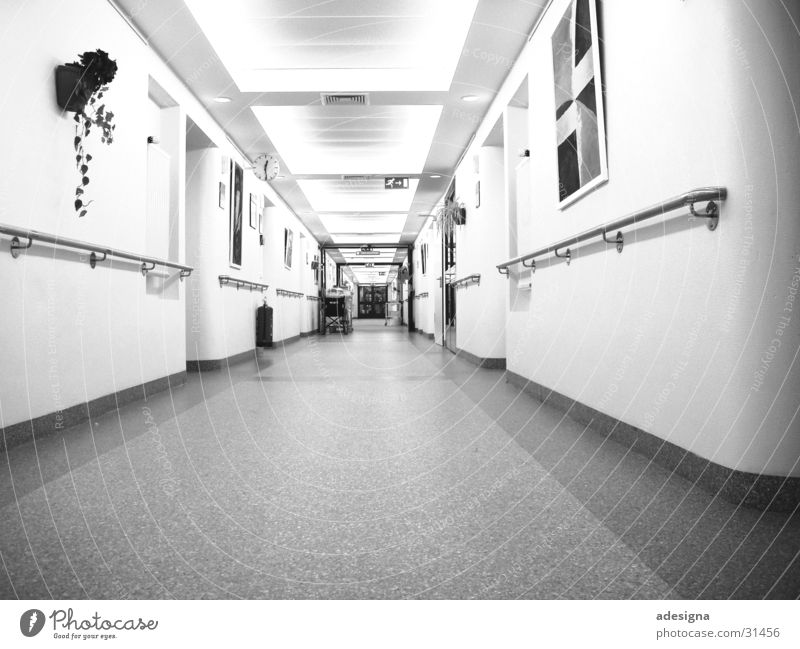 hospital corridor Hallway Hospital Light Station Carer Architecture Bright Black & white photo Perspective