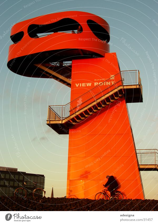 Bicycle Orange Architecture Hamburg Stairs Tower Harbor city Lookout tower