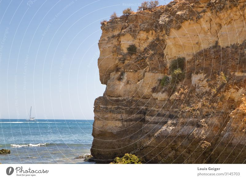 Lagos Coast Environment Nature Landscape Elements Sand Water Sky Cloudless sky Horizon Summer Hill Rock Waves Portugal Europe Breathe Observe To enjoy