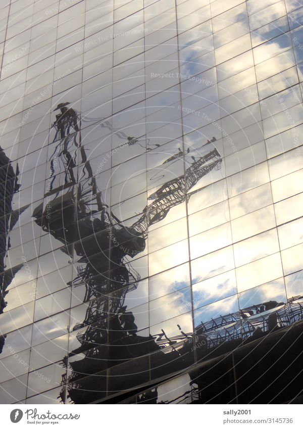 metropolitan construction site... Facade Glas facade Crane Construction crane Reflection Sunlight Construction sites Architecture High-rise New York City