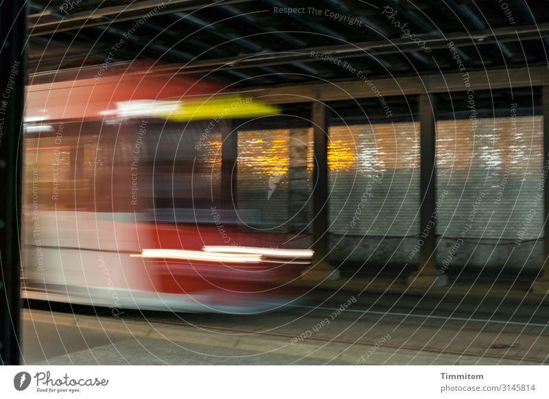 Too late! Nuremberg Tunnel Transport Rail transport Commuter trains Tram Observe Driving Dark Speed Brown Yellow Black White Emotions Light (Natural Phenomenon)