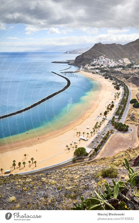 De Las Teresitas beach in San Andres from above, Tenerife. Beautiful Vacation & Travel Tourism Trip Summer Summer vacation Sunbathing Beach Ocean Island