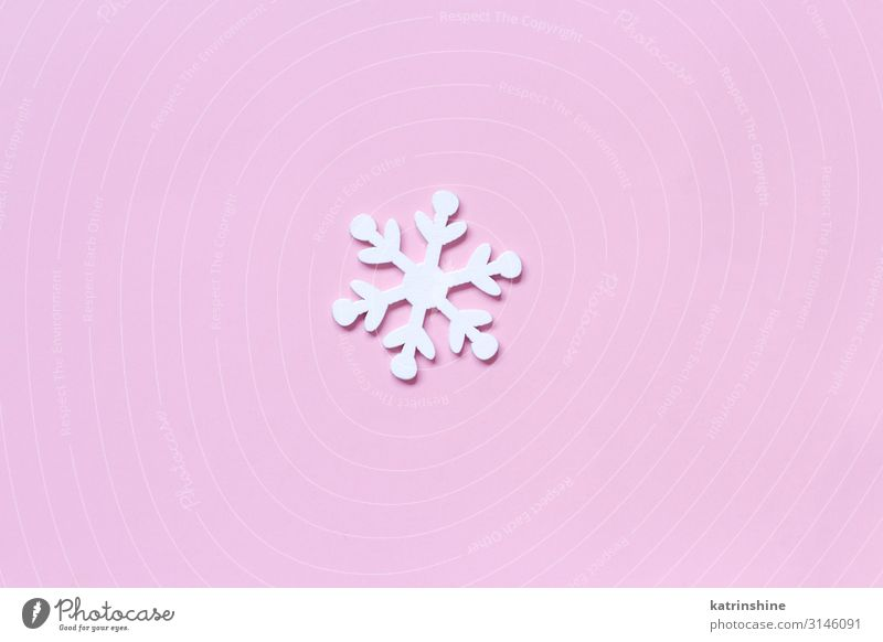 White wooden snowflake on a light pink background Decoration Wood Ornament Pink Snowflake Christmas pastel Guest Festive holidays seasonal noel Copy Space