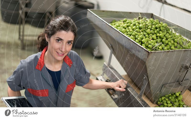 Woman in olives factory Fruit Work and employment Profession Workplace Factory Industry Business Technology Adults Arm Packaging Smiling Fresh Protection