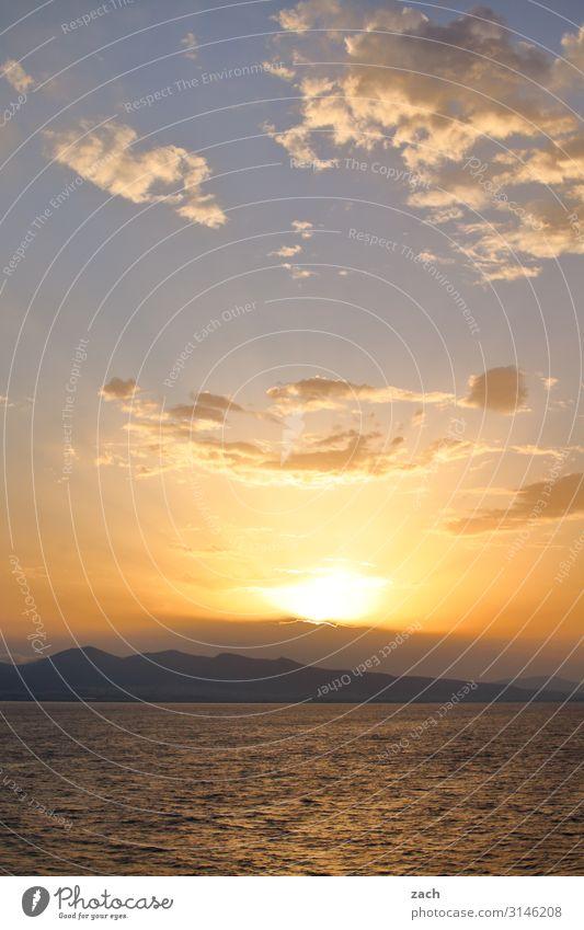 Good morning in the Aegean Sea Landscape Water Sky Clouds Sunrise Sunset Beautiful weather Hill Rock Mountain Coast Ocean Mediterranean sea Island Greece Blue